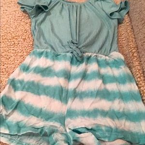 One Step Up Blue and White Romper Size 7/8 Girls
